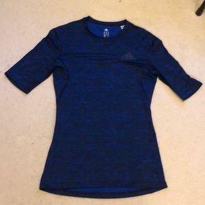 Adidas blue camp compression shirt